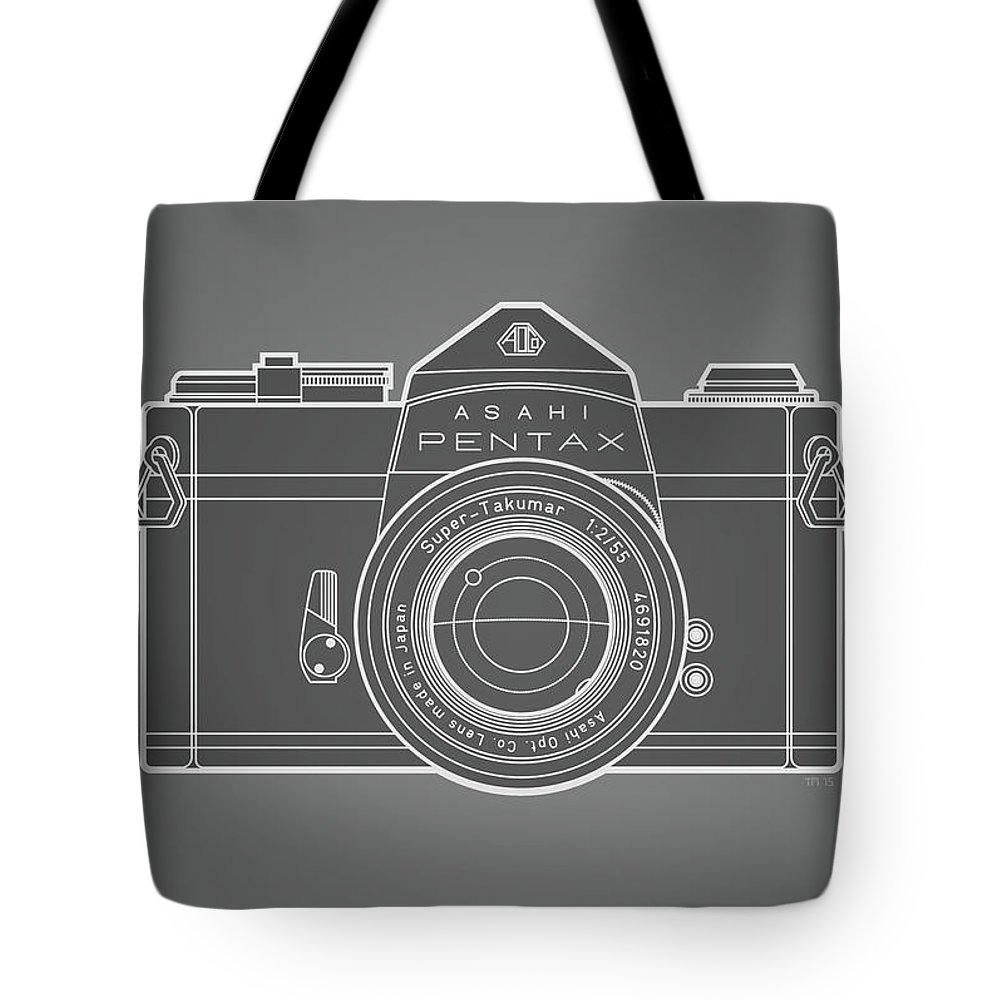 Camera Tote Bag featuring the digital art Asahi Pentax 35mm Analog Slr Camera Line Art Graphic White Outline by Monkey Crisis On Mars