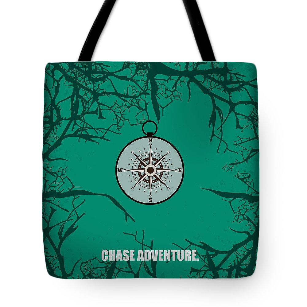 Motivational Quote Tote Bag featuring the digital art Chase Adventure Inspirational Quotes Poster by Lab No 4