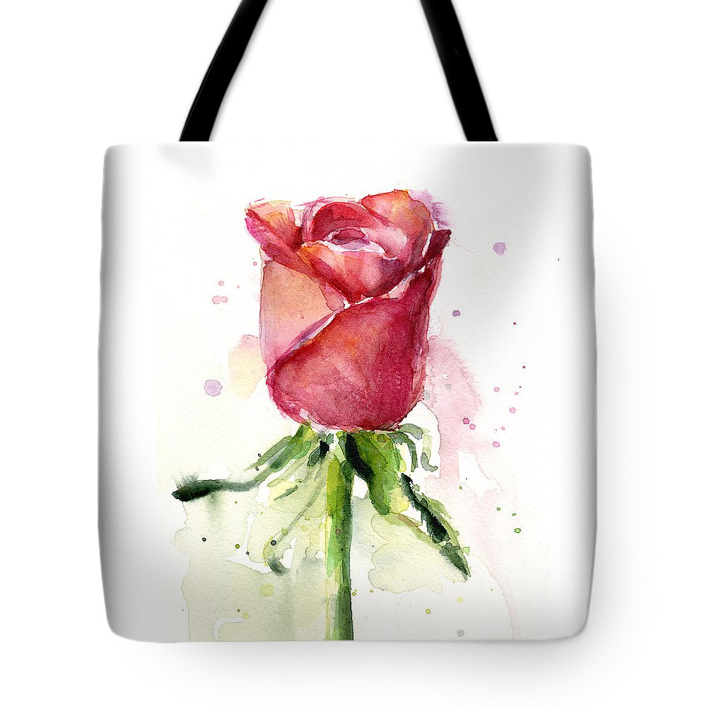 Rose Tote Bag featuring the painting Rose Watercolor by Olga Shvartsur