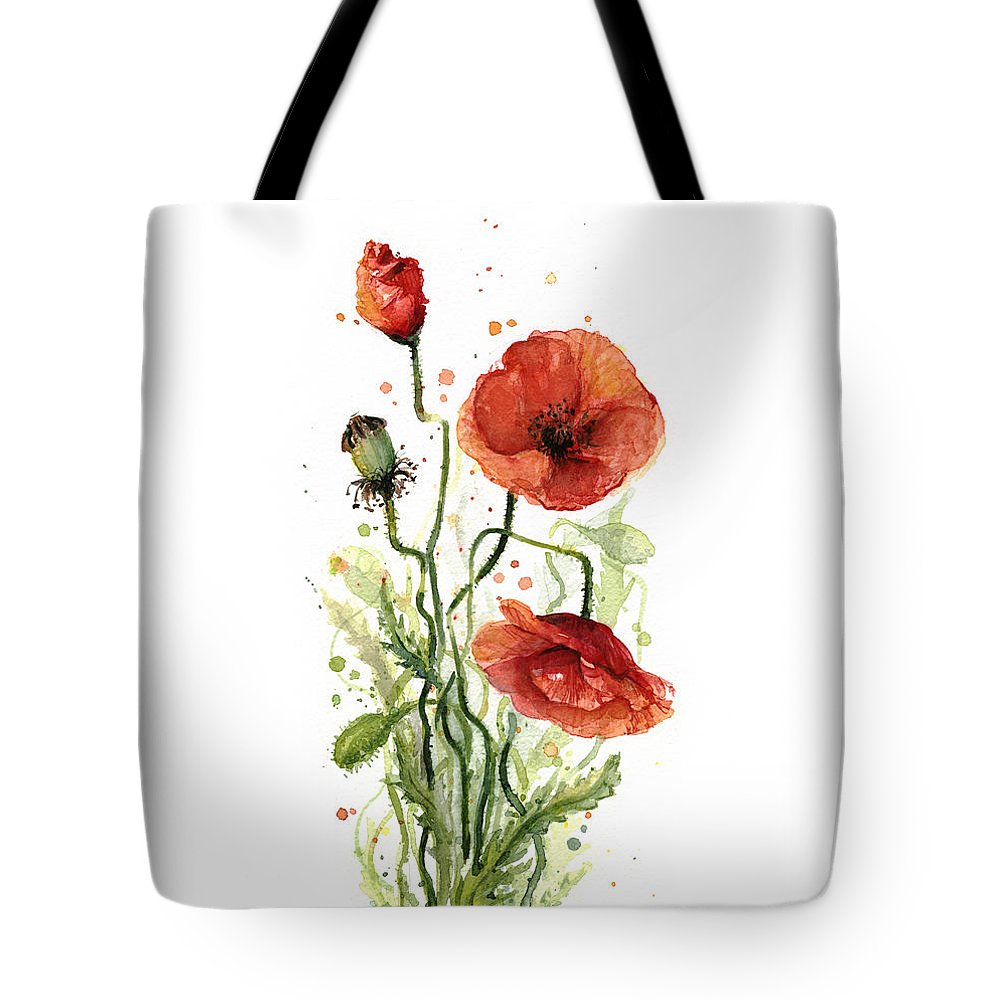 Red Poppy Tote Bag featuring the painting Red Poppies Watercolor by Olga Shvartsur