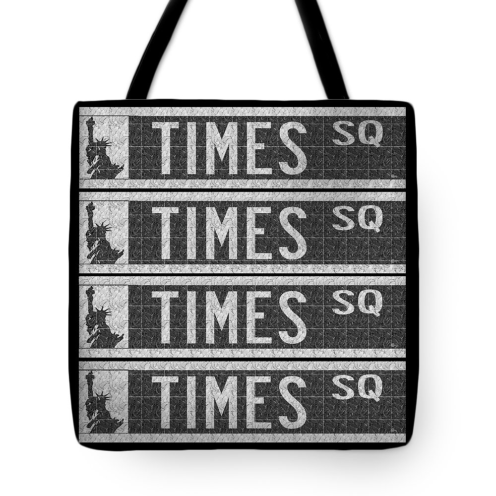 Times Tote Bag featuring the painting Times Square New York City Street Sign Deco Swing by Cecely Bloom