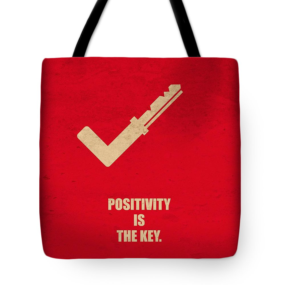 Corporate Tote Bag featuring the digital art Positivity Is The Key Corporate Start-up Quotes Poster by Lab No 4