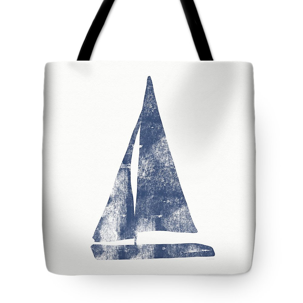 Boat Tote Bag featuring the painting Blue Sail Boat- Art By Linda Woods by Linda Woods