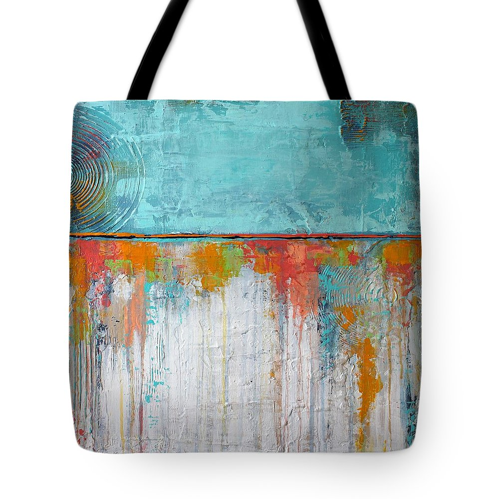 Coral Reef Blue And White Textured Art Acrylic On Canvas Painting Tote Bag