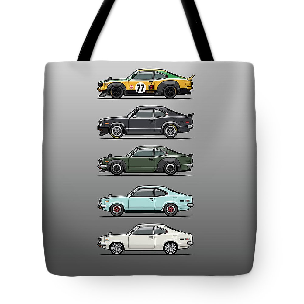 Car Tote Bag featuring the digital art Stack Of Mazda Savanna Gt Rx-3 Coupes by Monkey Crisis On Mars