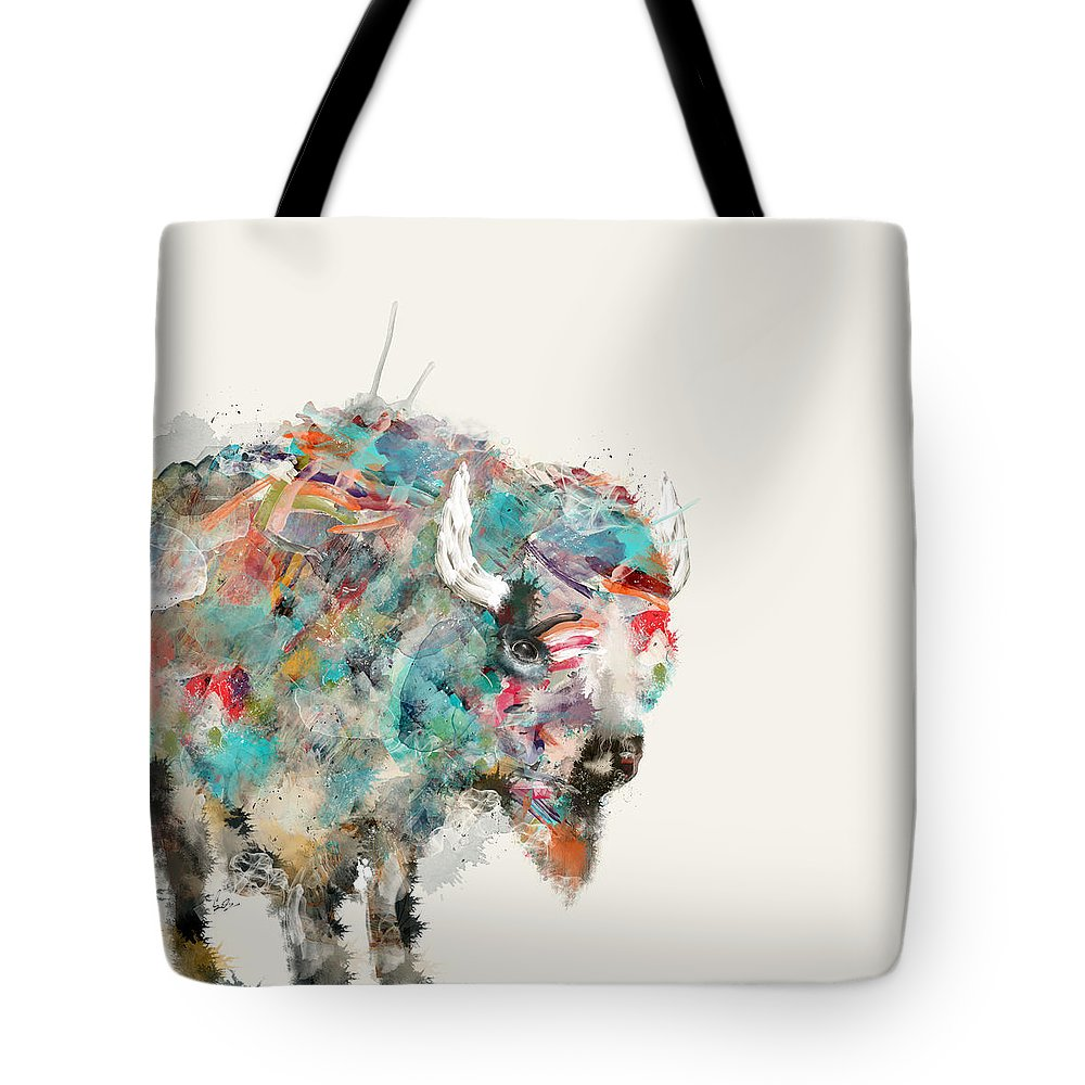 Buffalos Tote Bag featuring the painting The Buffalo by Bri Buckley