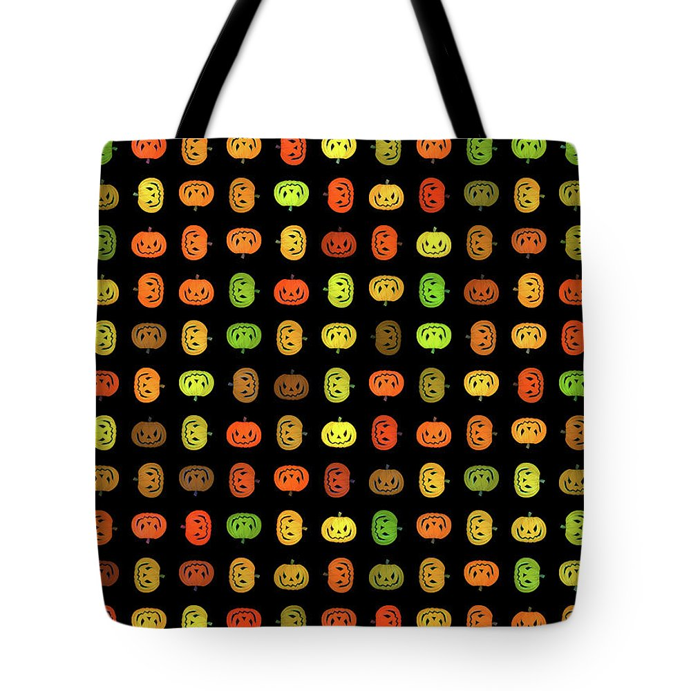 Jack-o-lanterns Tote Bag featuring the digital art Jack-o-lanterns by Methune Hively