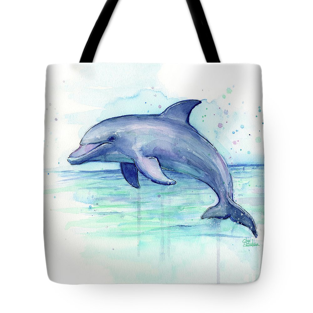Dolphin Tote Bag featuring the painting Dolphin Watercolor by Olga Shvartsur