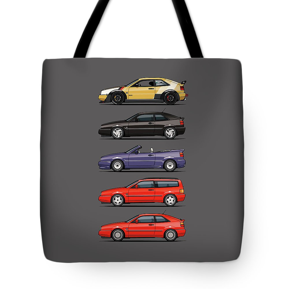 Car Tote Bag featuring the digital art Stack Of Vw Corrados by Monkey Crisis On Mars