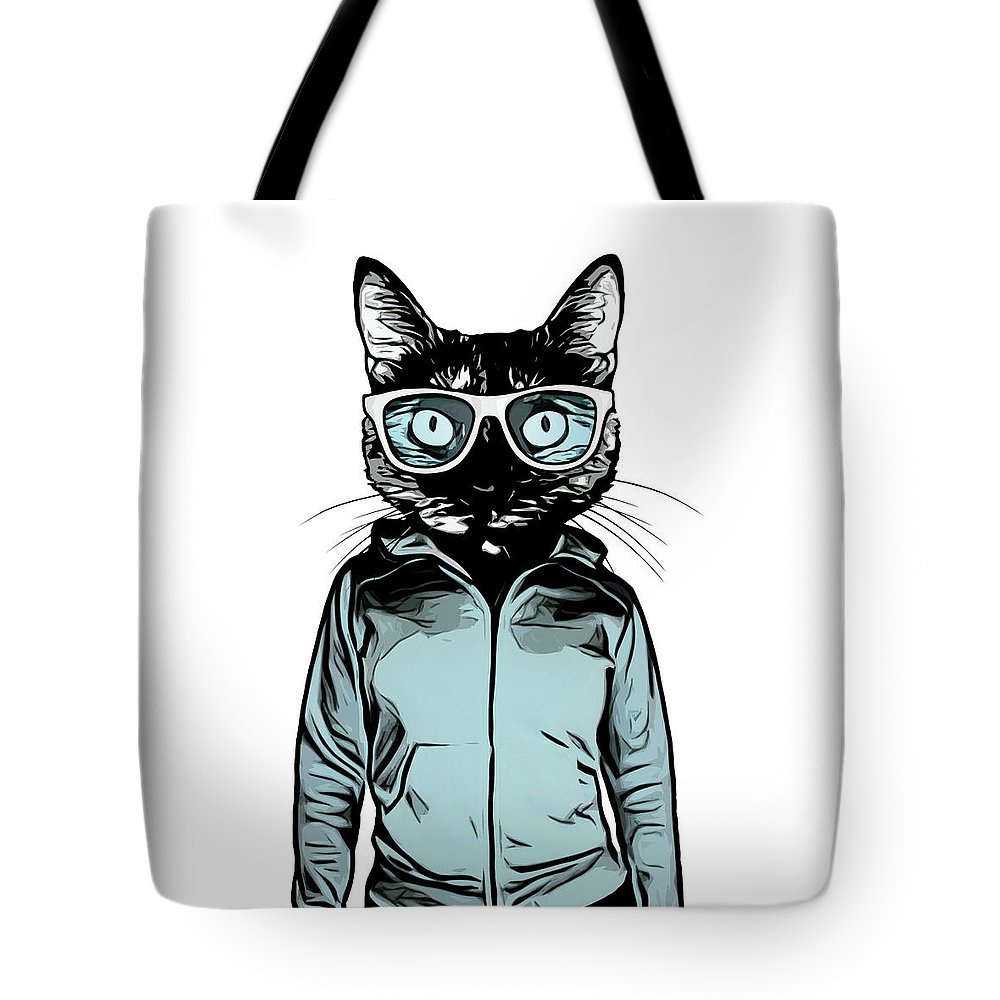 Cat Tote Bag featuring the mixed media Cool Cat by Nicklas Gustafsson