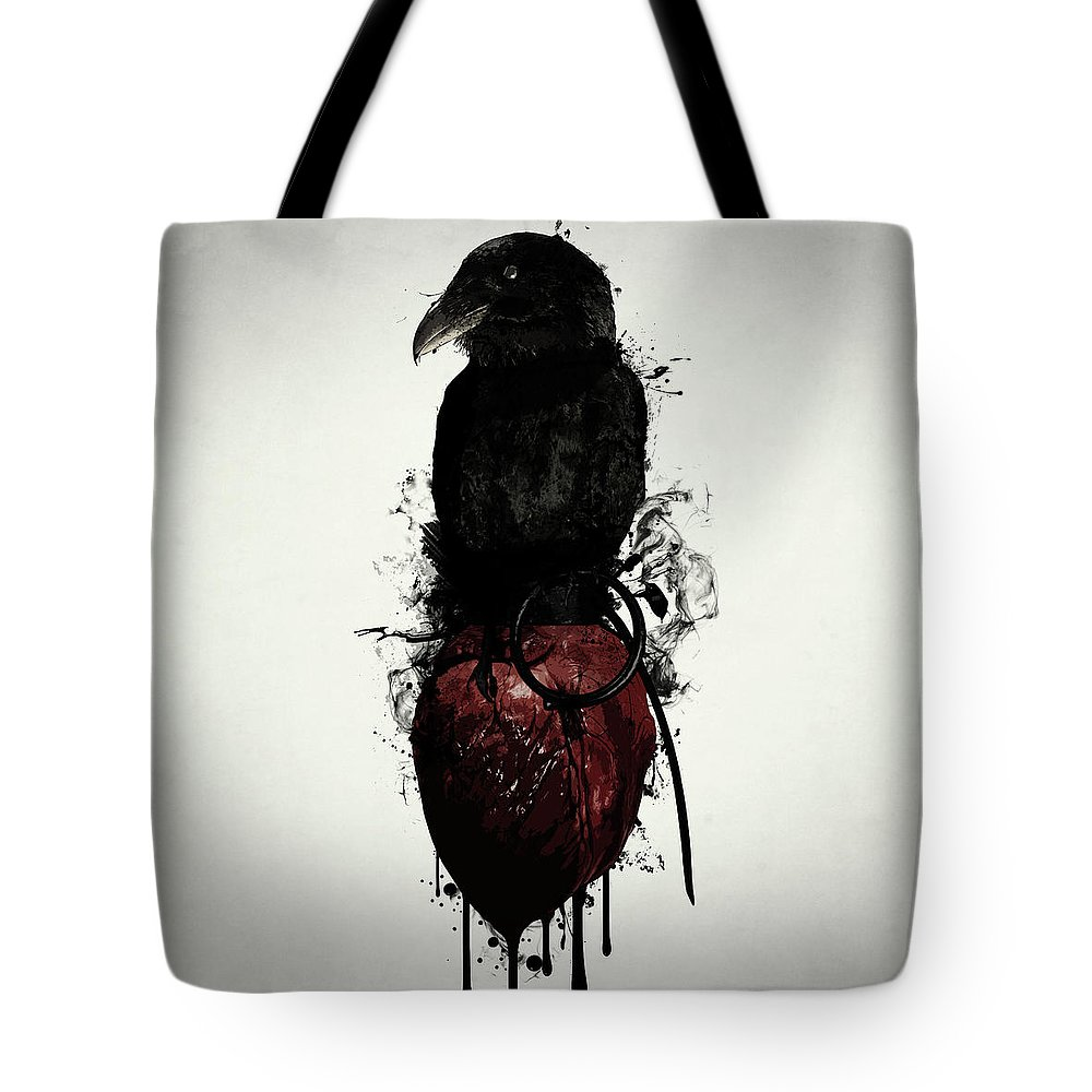 Raven Tote Bag featuring the digital art Raven And Heart Grenade by Nicklas  Gustafsson 9be875fe7807f