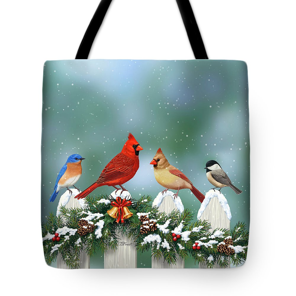 Bird Tote Bag featuring the painting Winter Birds And Christmas Garland by  Crista Forest 1dafa1860c0df