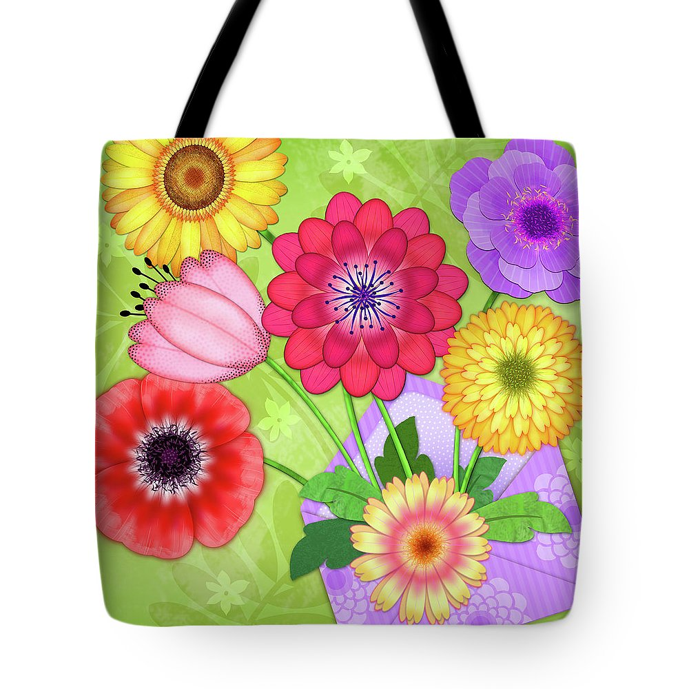 Flowers Tote Bag featuring the digital art Good News by Valerie Drake Lesiak