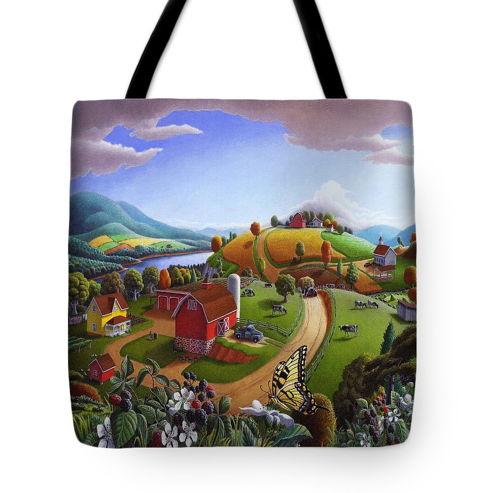 Folk Art Tote Bag featuring the painting Folk Art Blackberry Patch Rural Country Farm Landscape Painting - Blackberries Rustic Americana by Walt Curlee