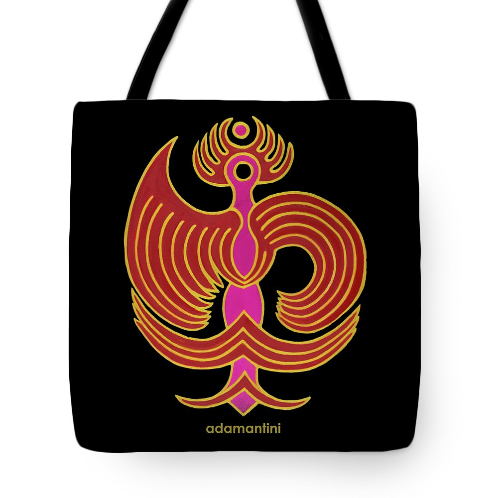 Red Bird Tote Bag featuring the painting Celestial Red Phoenix by Adamantini Feng shui
