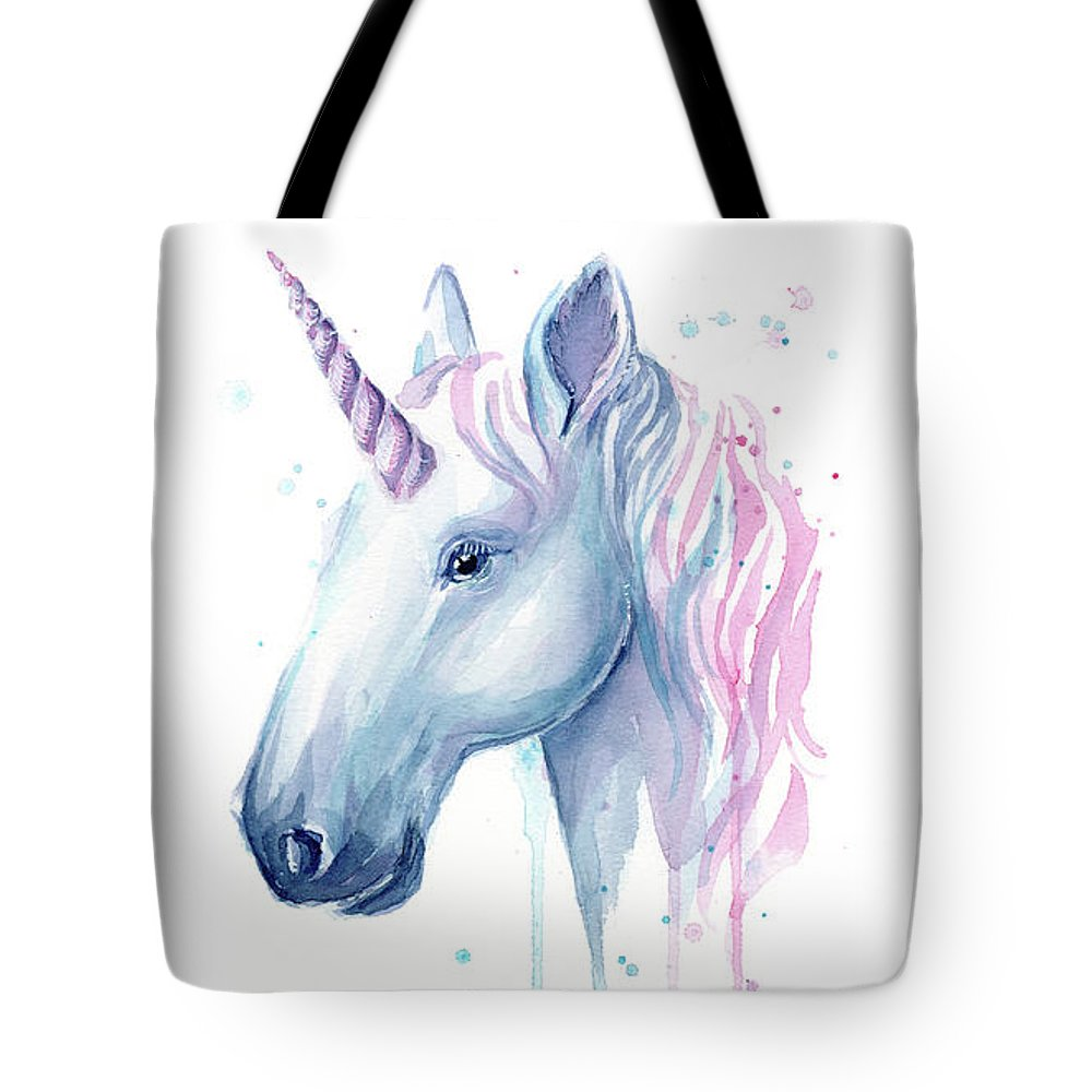 Unicorn Tote Bag featuring the painting Cotton Candy Unicorn by Olga Shvartsur