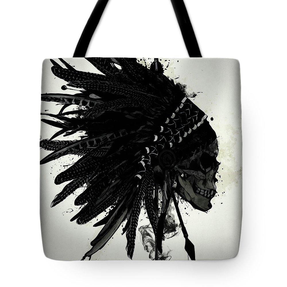 be2ea8f9e86 Indian Tote Bag featuring the digital art Warbonnet Skull by Nicklas  Gustafsson
