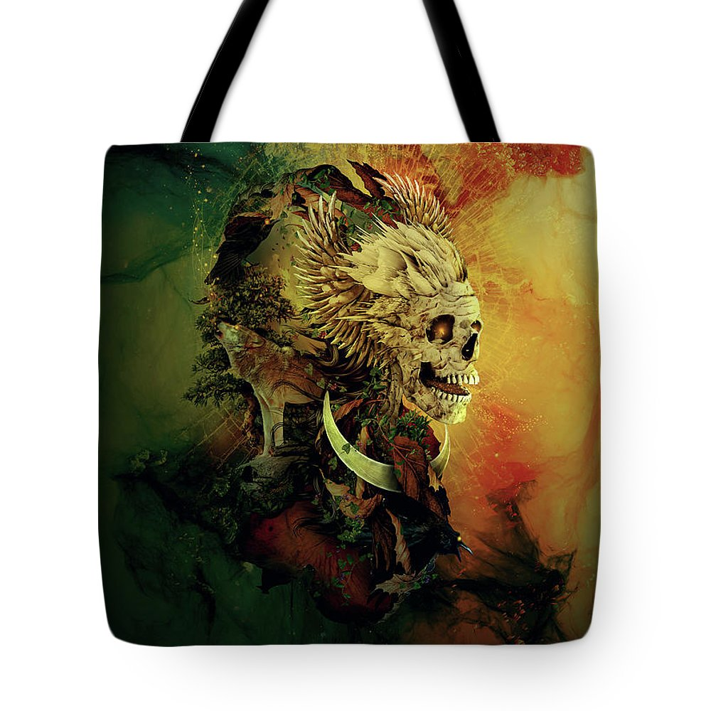 Skull Tote Bag featuring the digital art Skull Lord IIi by Riza Peker