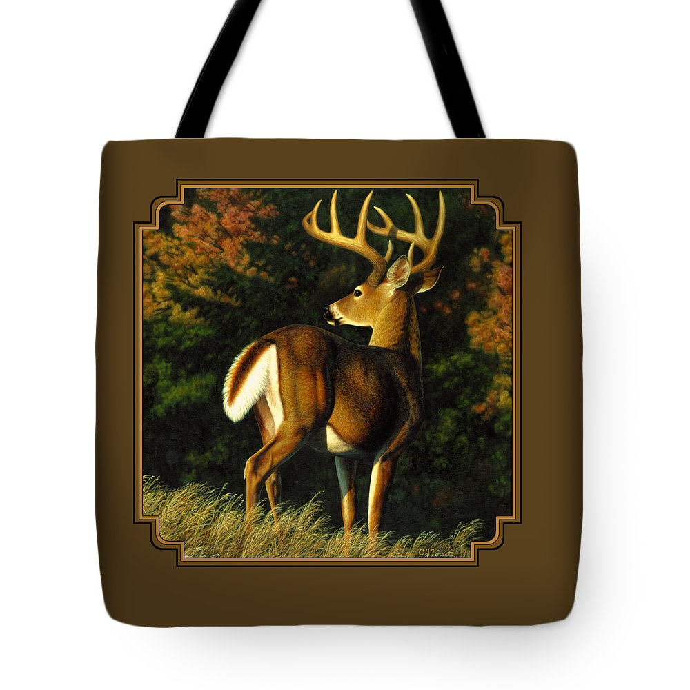 Deer Tote Bag featuring the painting Whitetail Buck - Indecision by Crista Forest