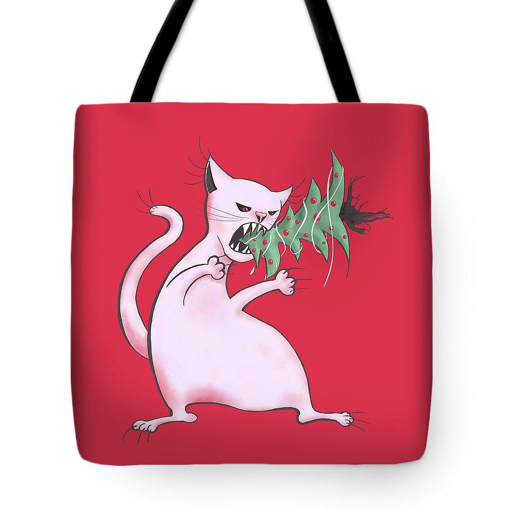 Tree Tote Bag featuring the digital art Funny White Cat Eats Christmas Tree by Boriana Giormova