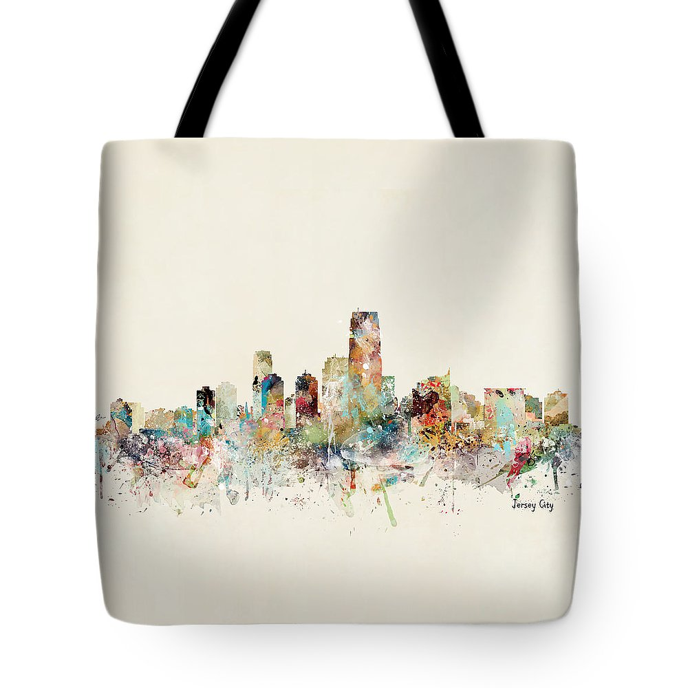 Jersey City Tote Bag featuring the painting Jersey City New Jersey Skyline by Bri Buckley