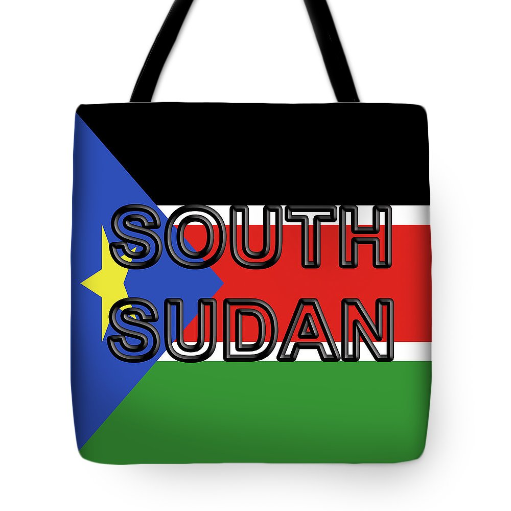 Africa Tote Bag featuring the digital art Flag Of South Sudan Word by Roy Pedersen