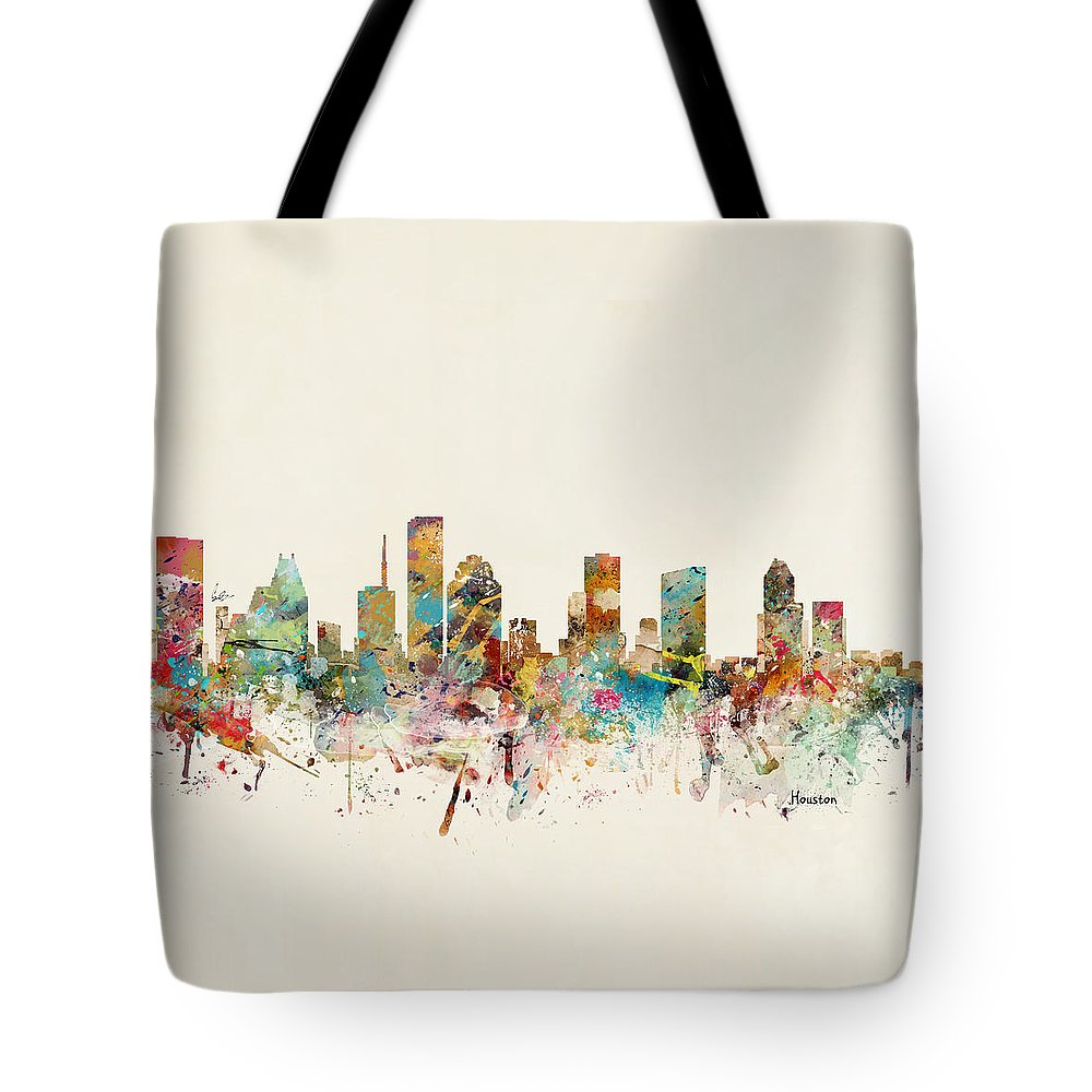 Houston Tote Bag featuring the painting Houston Texas Skyline by Bri Buckley