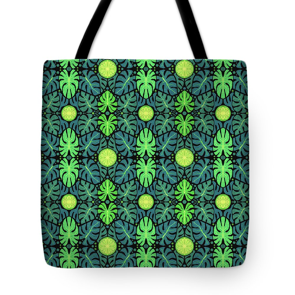 Nature Tote Bag featuring the mixed media Monstera Leaves Pattern by Julia Khoroshikh