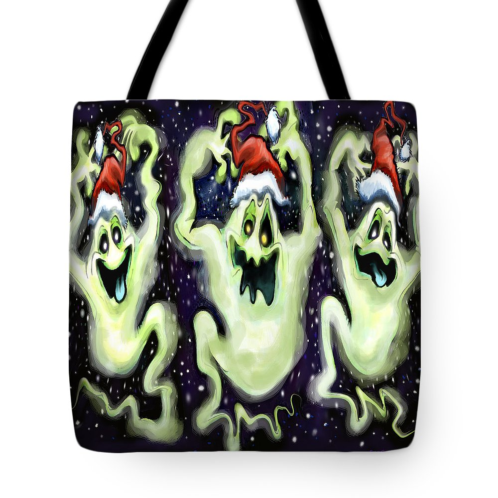 Ghost Tote Bag featuring the digital art Ghostly Christmas Trio by Kevin Middleton