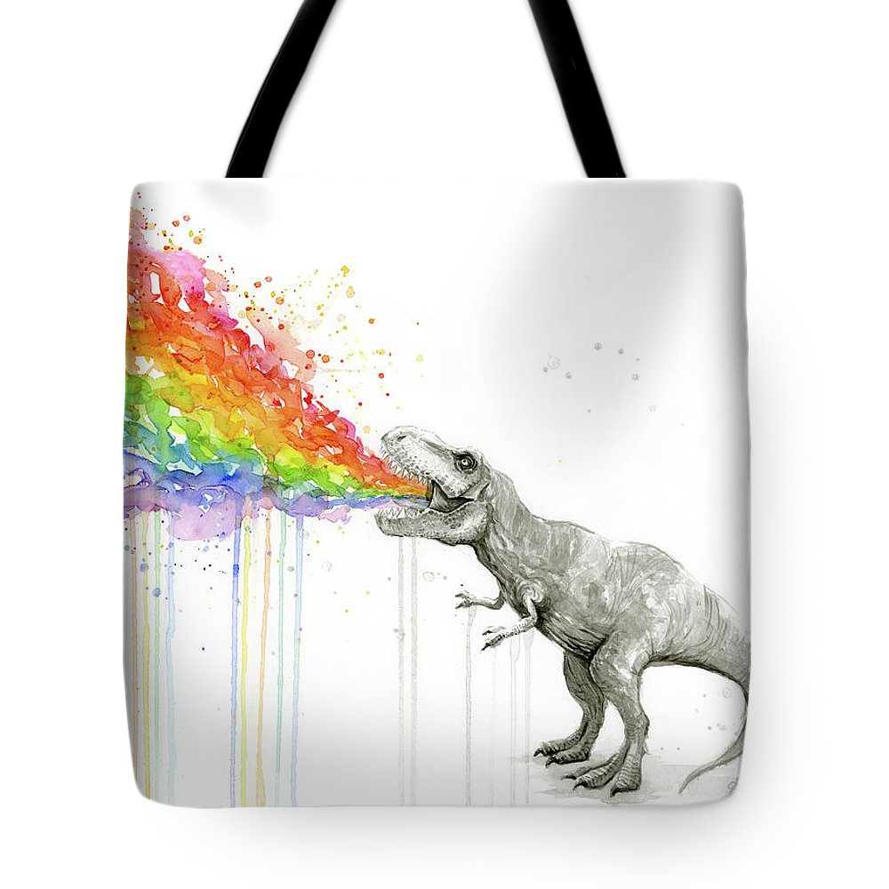 T-rex Tote Bag featuring the painting T-rex Tastes The Rainbow by Olga Shvartsur