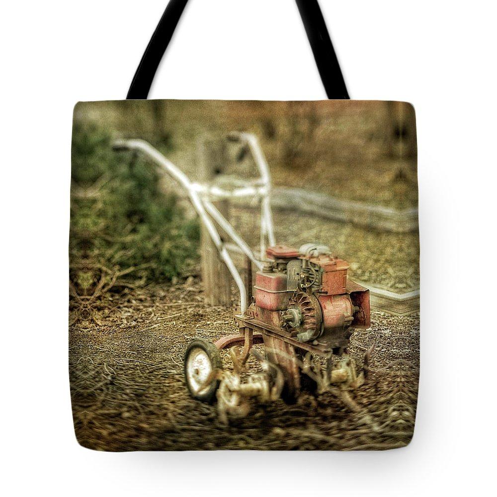 Vintage Garden Rototiller Near Split Rail Fence Tote Bag for Sale by ...
