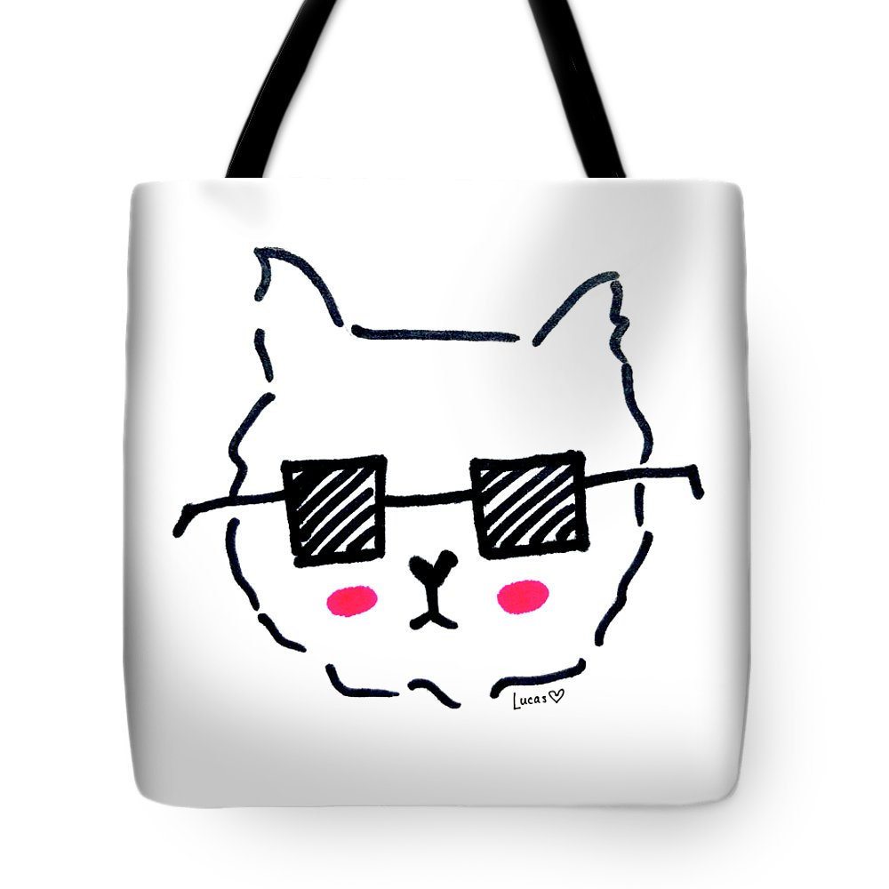 Dog Tote Bag featuring the drawing Square Shades by Ashley Lucas