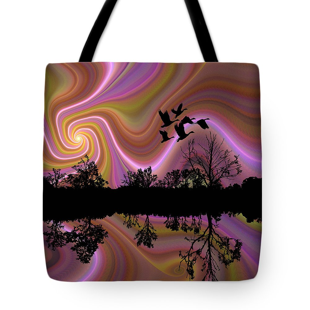 Fractal Tote Bag featuring the digital art Sundown by Bunny Clarke