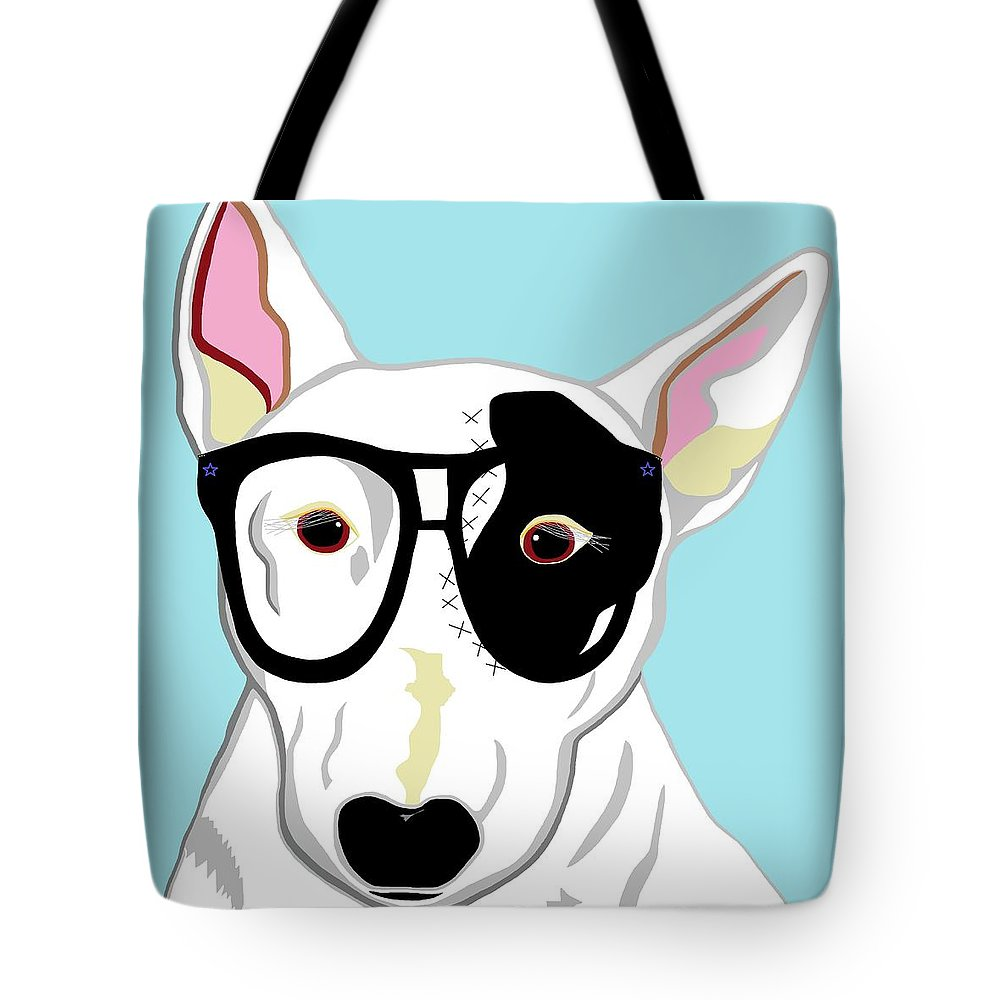Hipster Tote Bag featuring the painting Hipster Bull Terrier by Eloise Schneider Mote