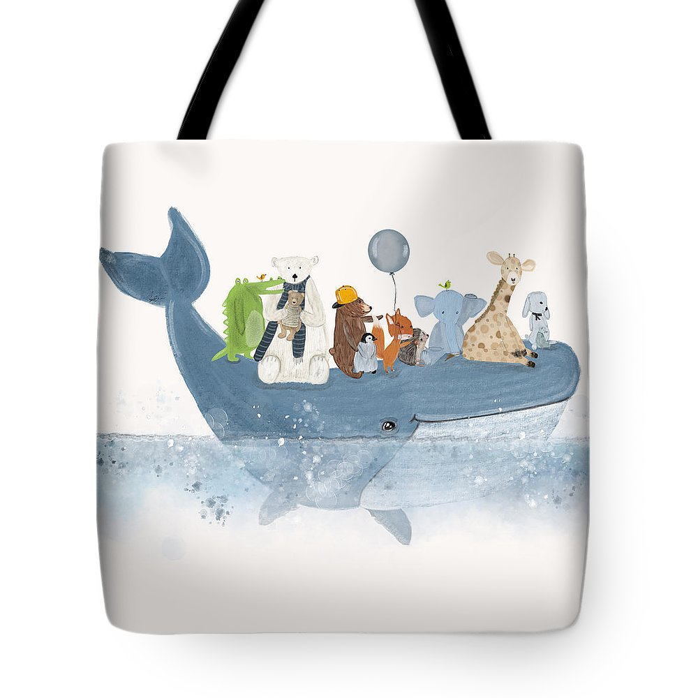 Whales Tote Bag featuring the painting A Whale Of A Time by Bri Buckley