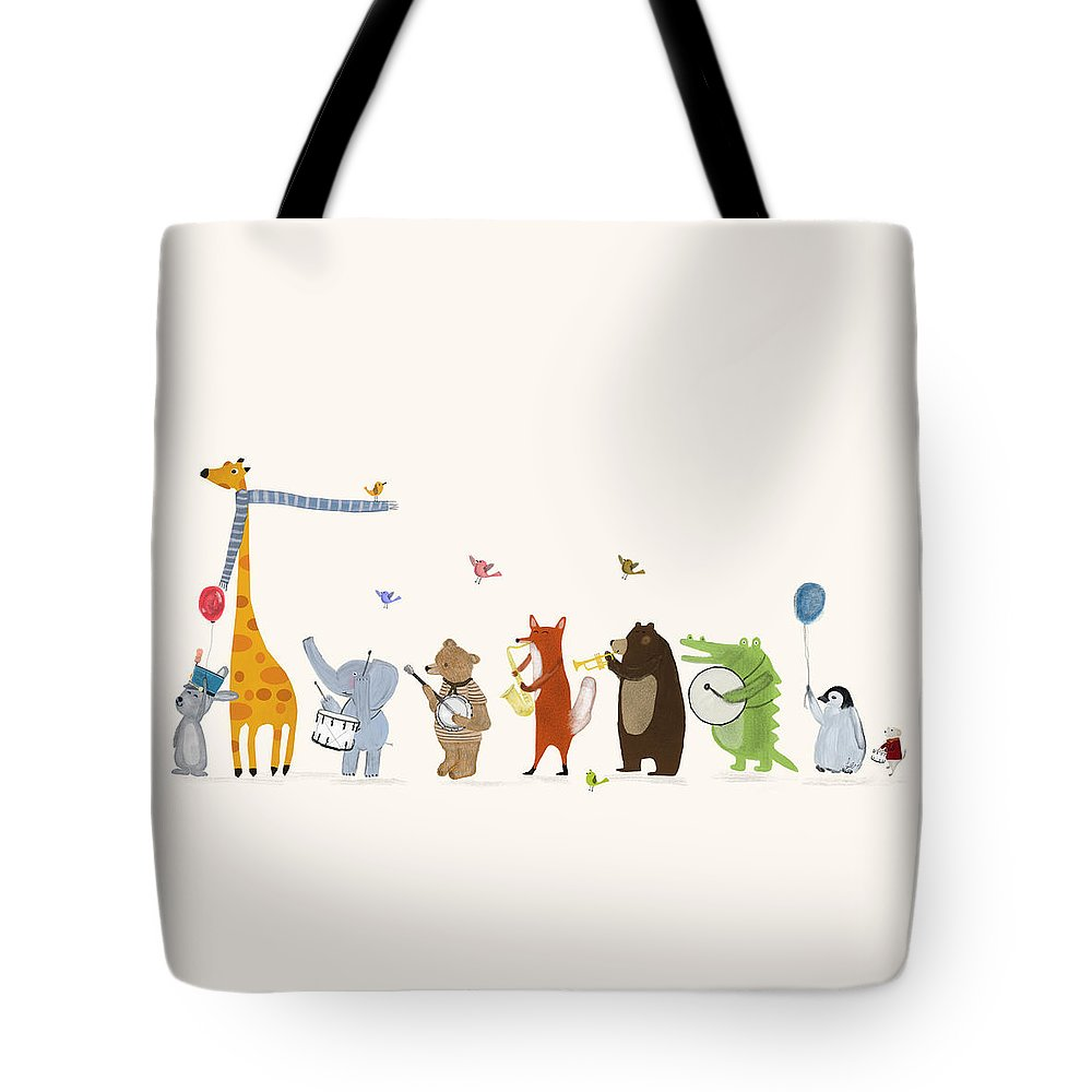Childrens Tote Bag featuring the painting Little Parade by Bri Buckley