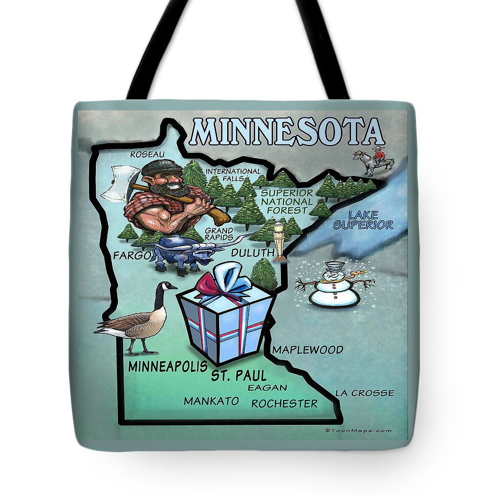 Minnesota Tote Bag featuring the painting Minnesota Cartoon Map by Kevin Middleton