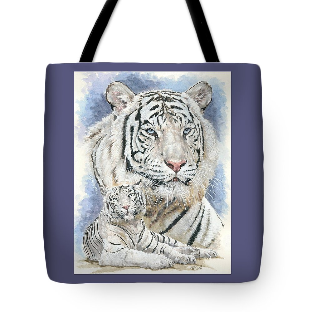 Big Cat Tote Bag featuring the mixed media Dignity by Barbara Keith