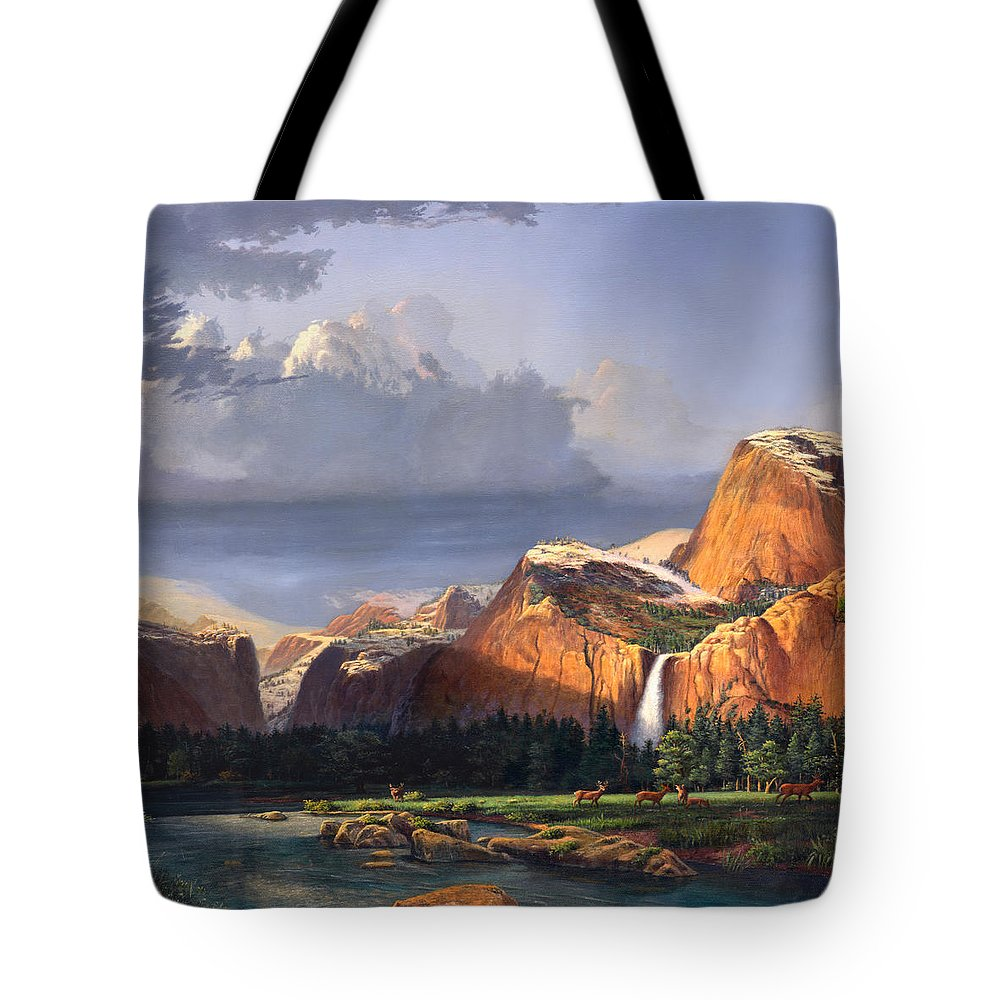 American Tote Bag featuring the painting Deer Meadow Mountains Western Stream Deer Waterfall Landscape Oil Painting Stormy Sky Snow Scene by Walt Curlee