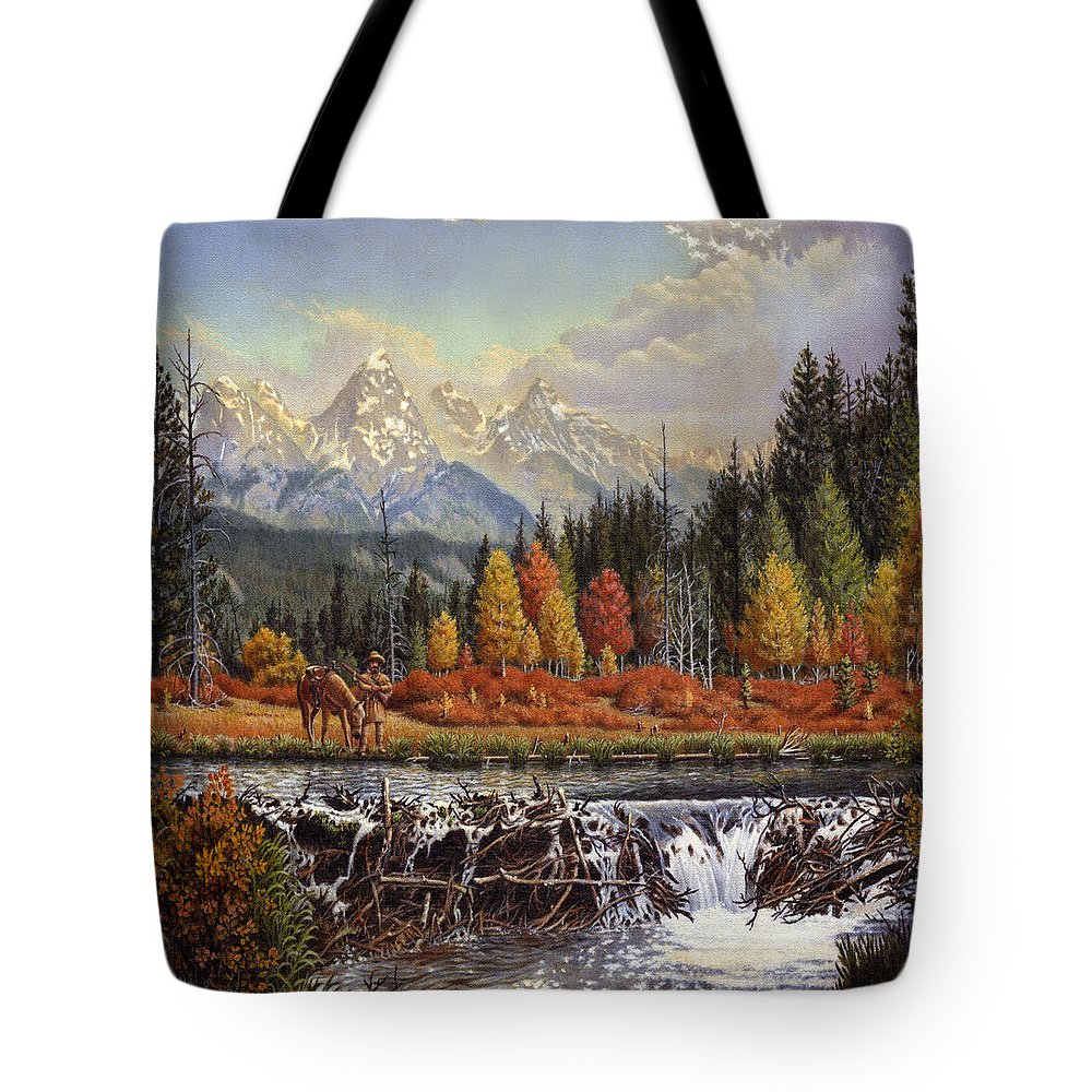 Western Mountain Landscape Tote Bag featuring the painting Western Mountain Landscape Autumn Mountain Man Trapper Beaver Dam Frontier Americana Oil Painting by Walt Curlee