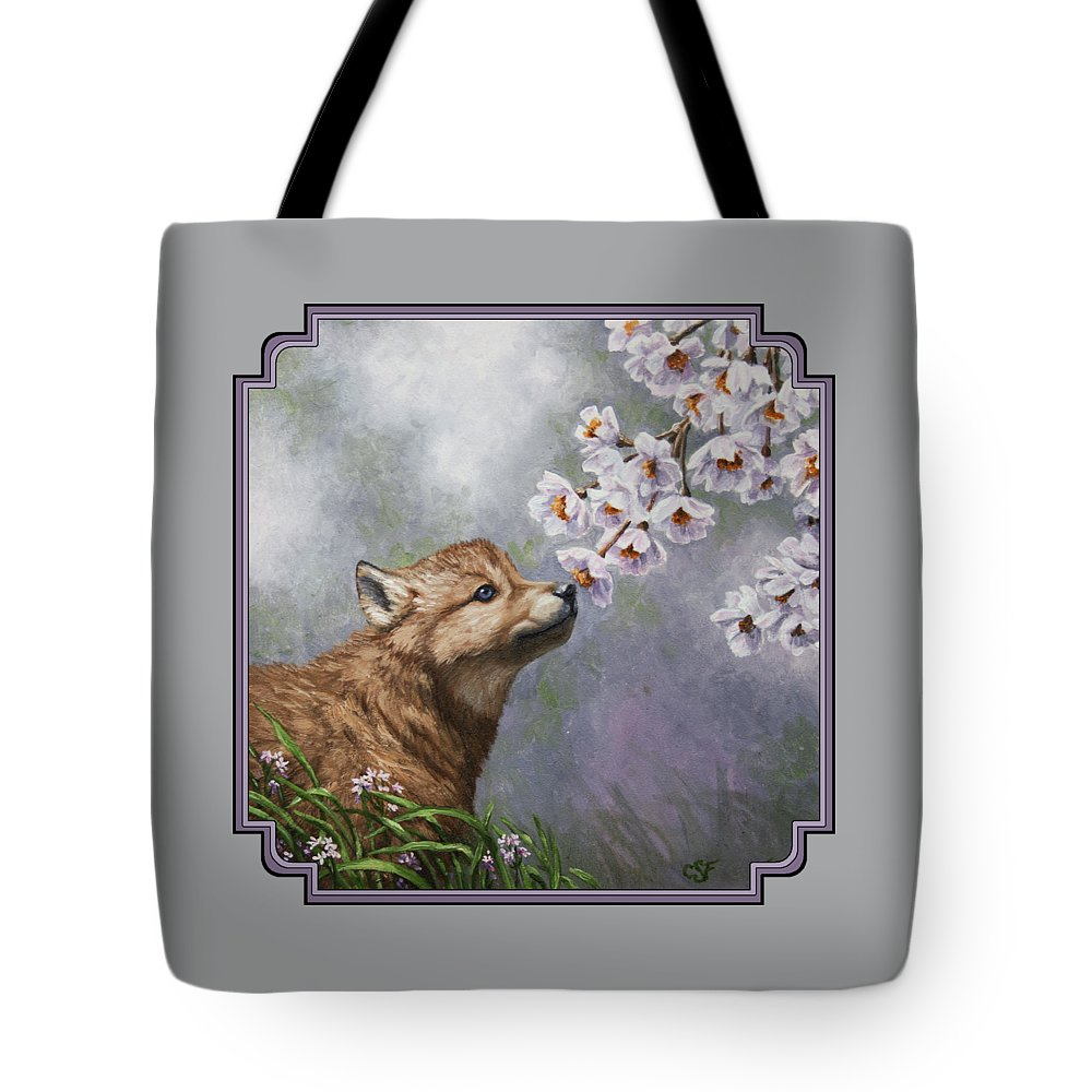 Wolf Tote Bag featuring the painting Wolf Pup - Baby Blossoms by Crista Forest