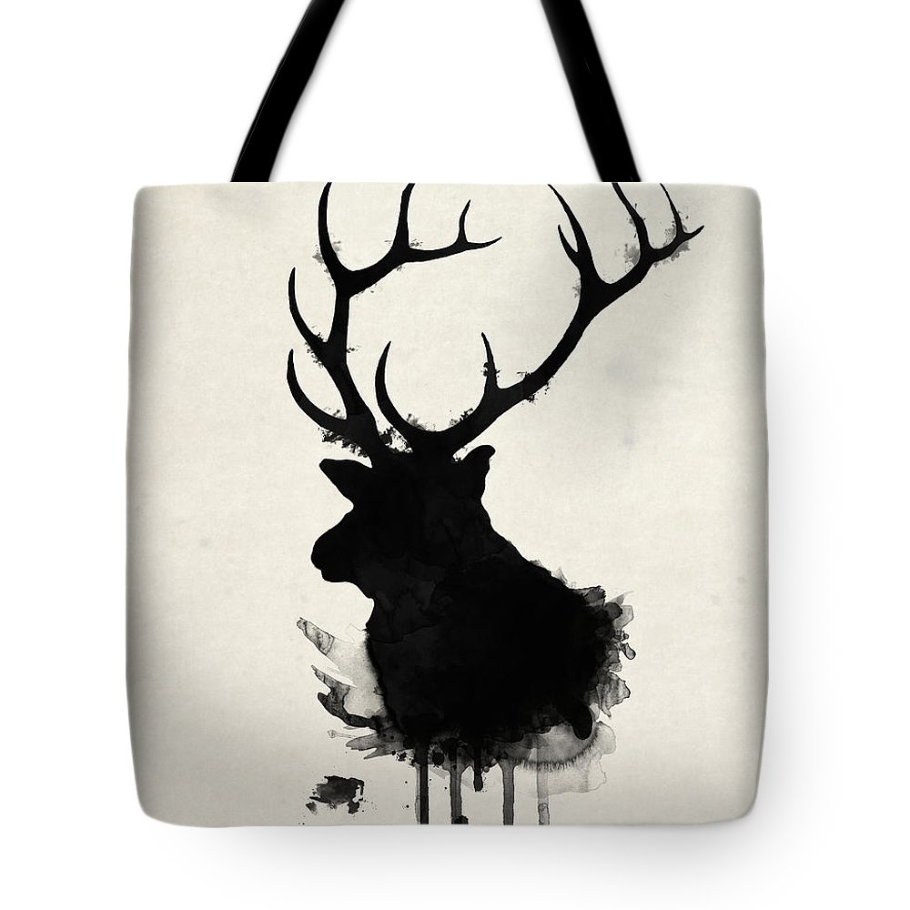 Elk Tote Bag featuring the drawing Elk by Nicklas Gustafsson