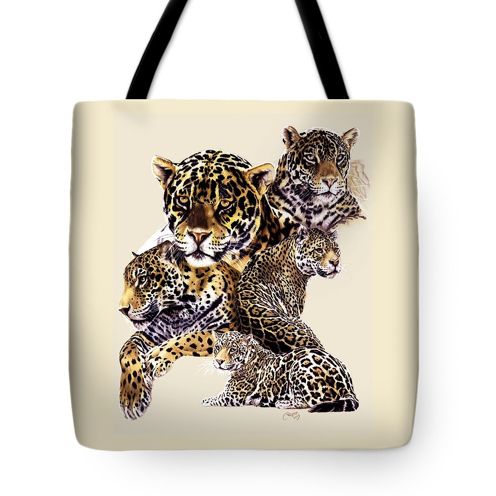 Jaguar Tote Bag featuring the drawing Burn by Barbara Keith