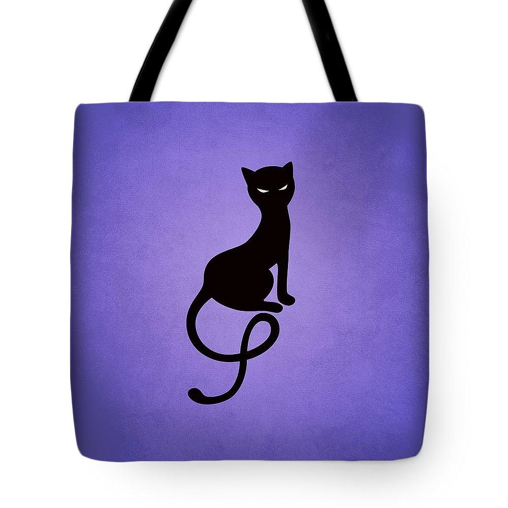 Cats Tote Bag featuring the digital art Purple Gracious Evil Black Cat by Boriana Giormova