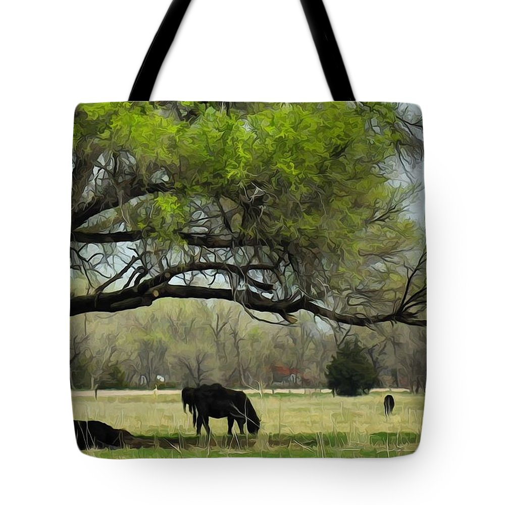 Cattle Tote Bag featuring the photograph Shady Rest by Bill Kesler