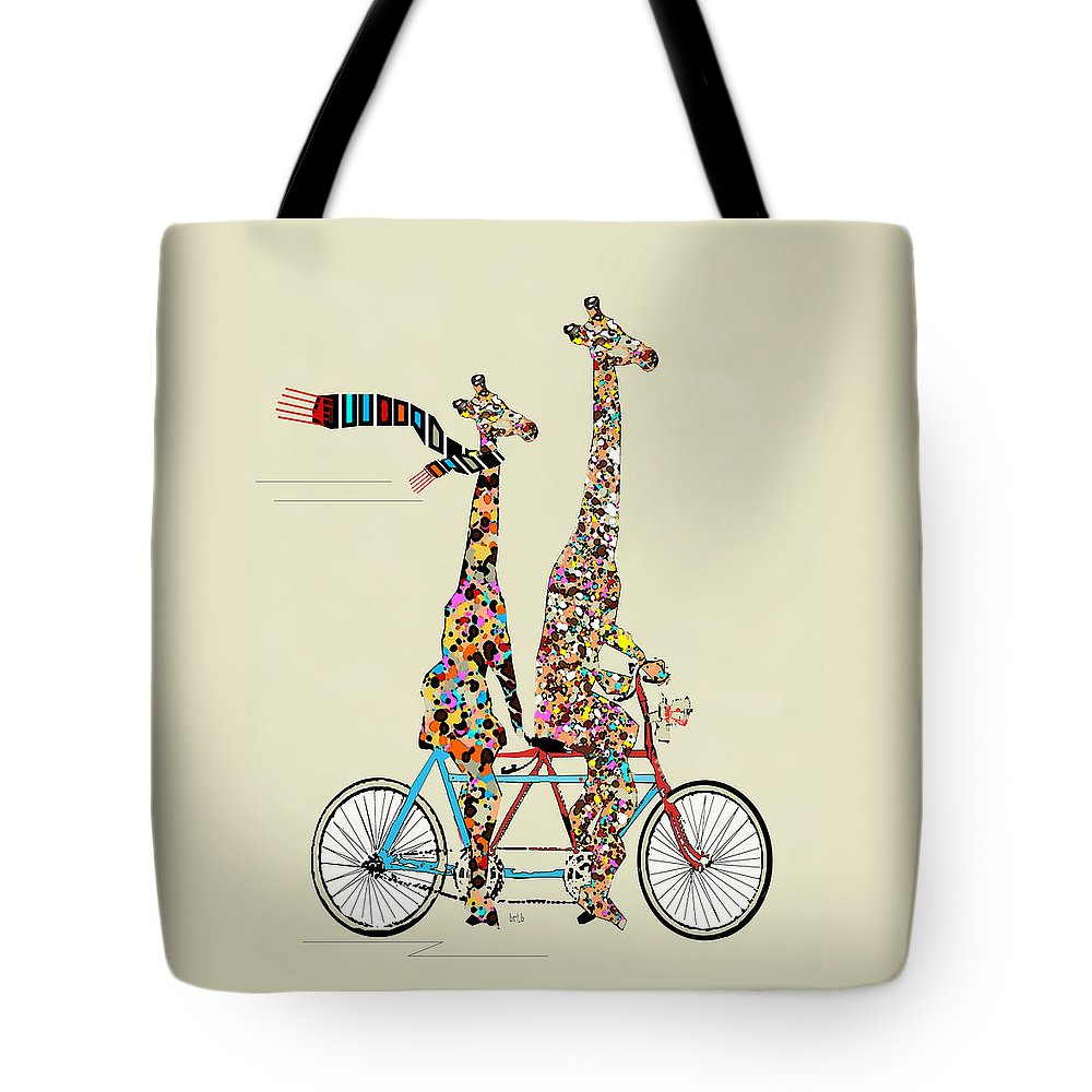 Giraffes Tote Bag featuring the painting Giraffe Days Lets Tandem by Bri Buckley