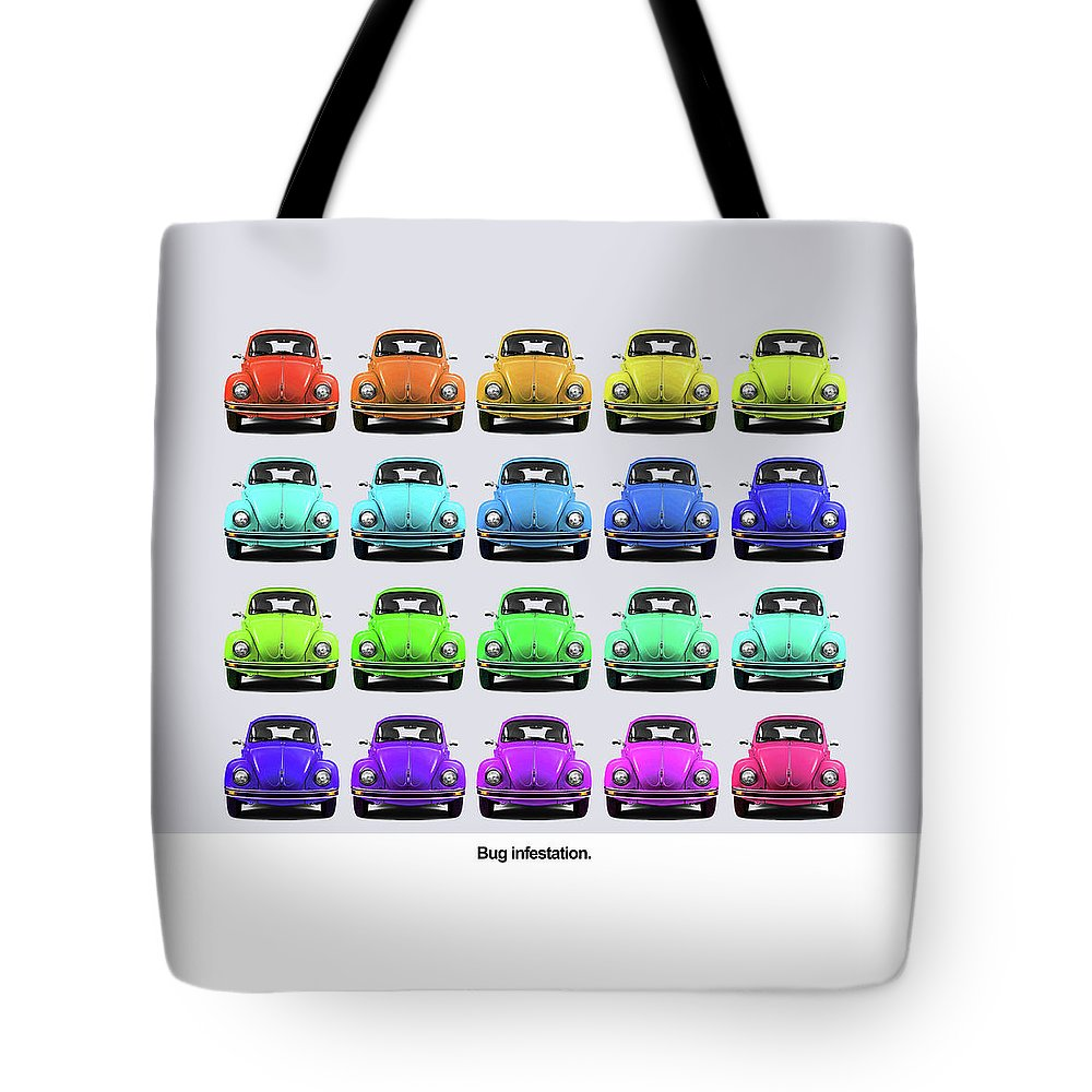 Volkswagen Beetle Tote Bag featuring the photograph Bug Infestation. by Mark Rogan