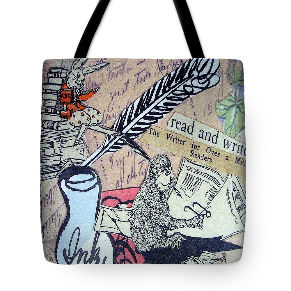 Book Tote Bag featuring the drawing The Studious Rabbit And The Monkey by Eloise Schneider