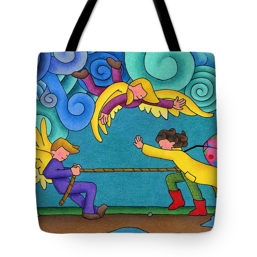Angels Tote Bag featuring the drawing Through The Storm by Sarah Batalka