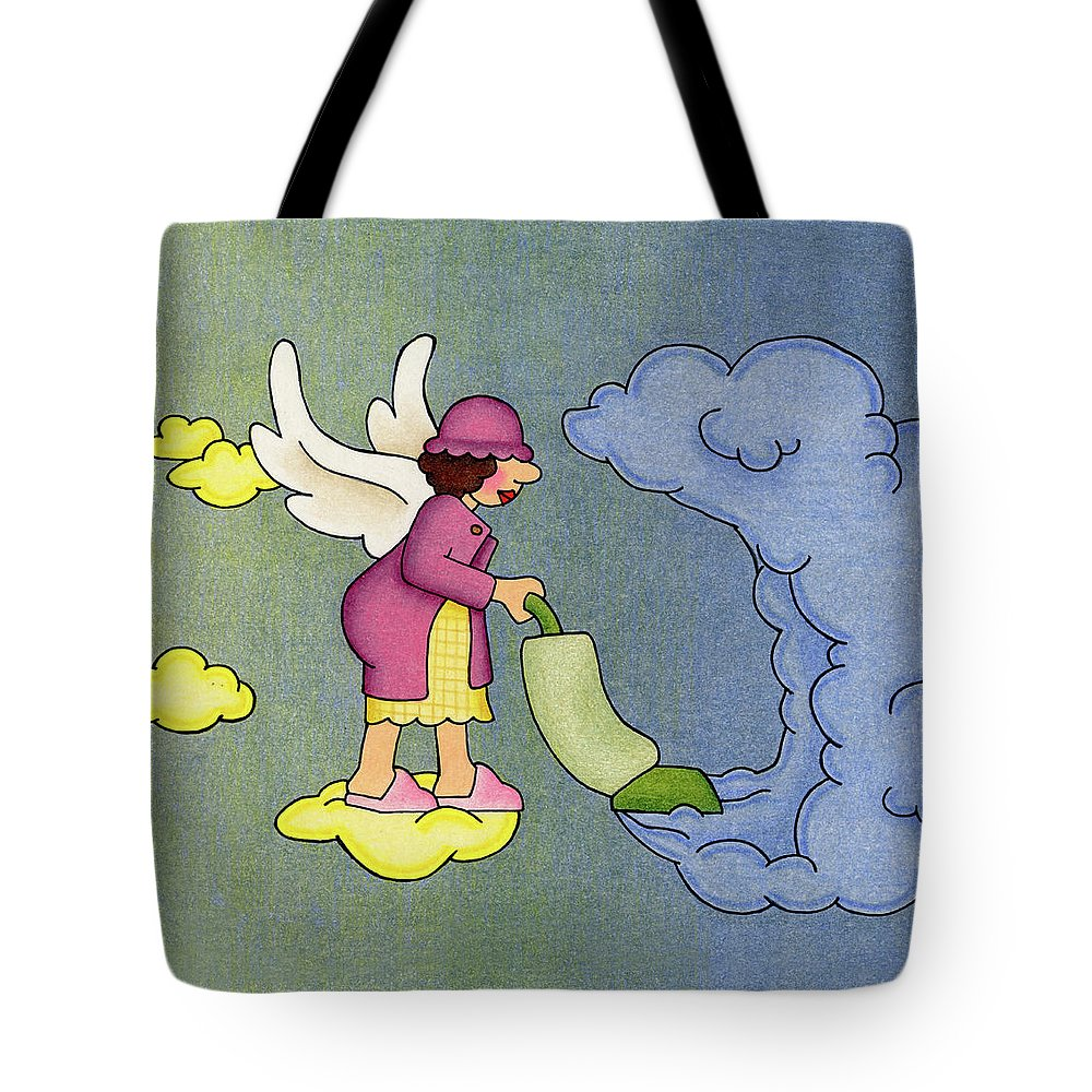 Angels Tote Bag featuring the drawing Heavenly Housekeeper by Sarah Batalka